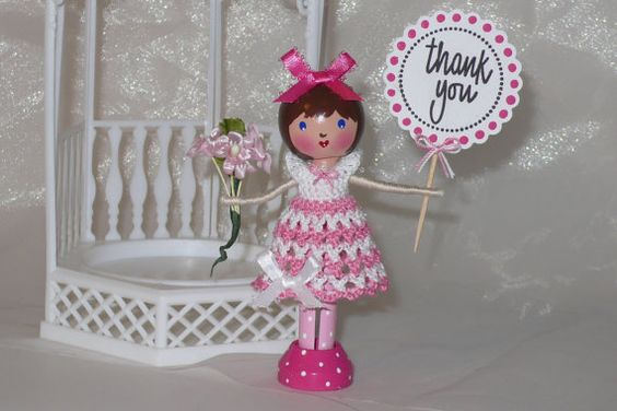 Clothespin doll with hand crocheted dress. #crochet #clothespin #doll: Dolls Crafts, Crochet Clothespin, Dolls Clothespin, Clothespin Dolls, Clothespin Spoon, Craft Ideas, Clothespin Kokeshi, Dolls Accessories