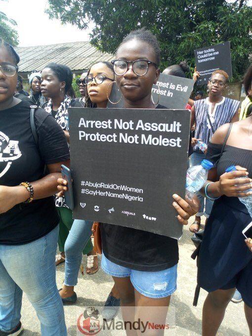 Sayhernamenigeria Protest Rocks Abuja Lagos Over Police Raid On Women Photos Protest Lagos Abuja