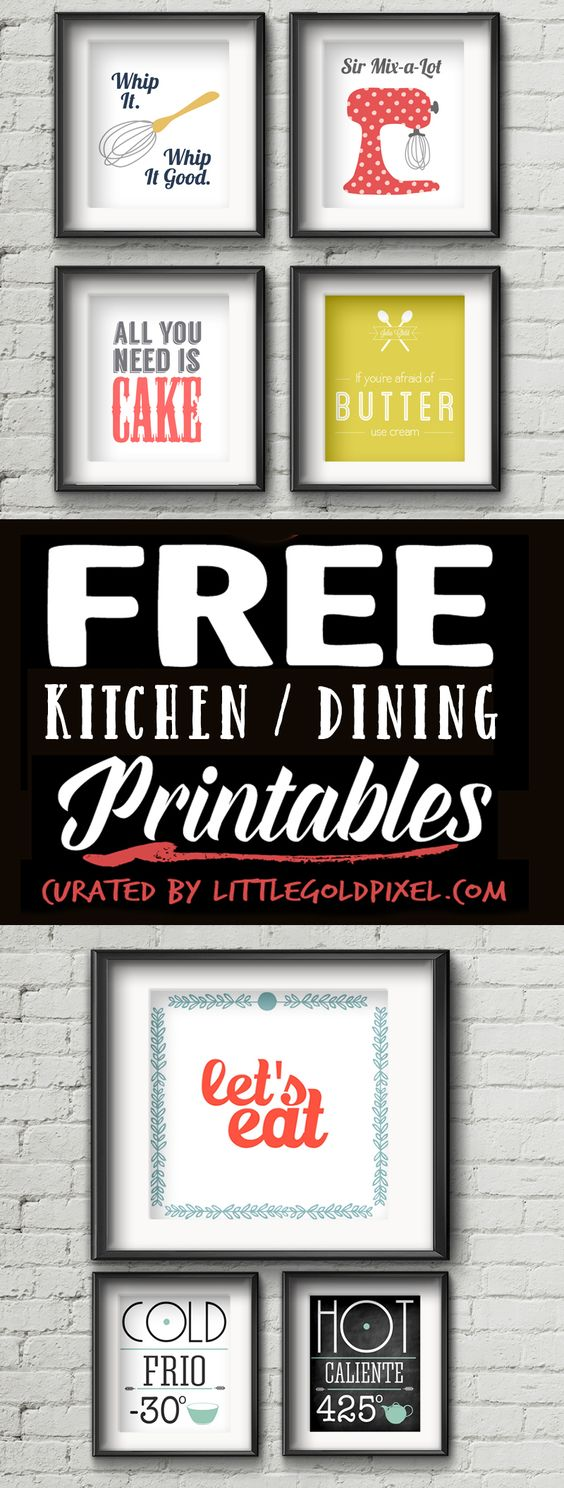 Free Printables Kitchen Wall Art. A little cooking humour to brighten any kitchen!: