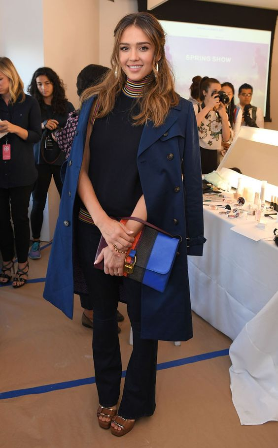 The trendy actress looks chic during the Tory Burch show at New York Fashion Week.