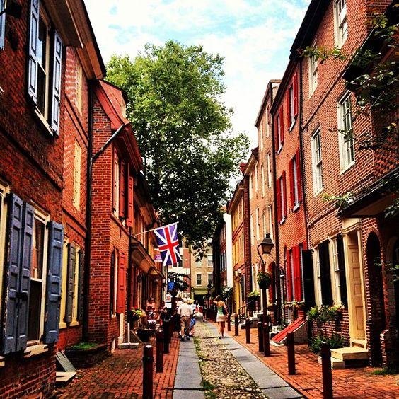 Elfreth's Alley, Philadelphia, Pennsylvania. Mid 1700's To