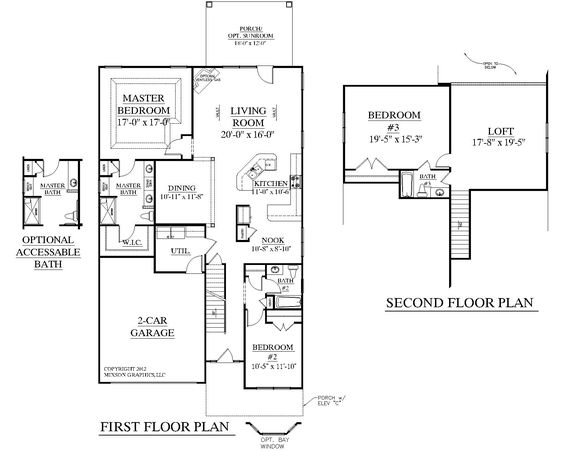 House plan 2545 englewood floor plan traditional 1 1 2 for Upstairs floor plans