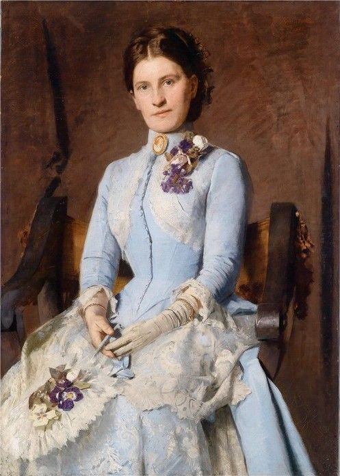 ▴ Artistic Accessories ▴ clothes, jewelry, hats in art - Franz Hohenberger | Portrait of a Lady in a Blue Dress with Violets, 1888: