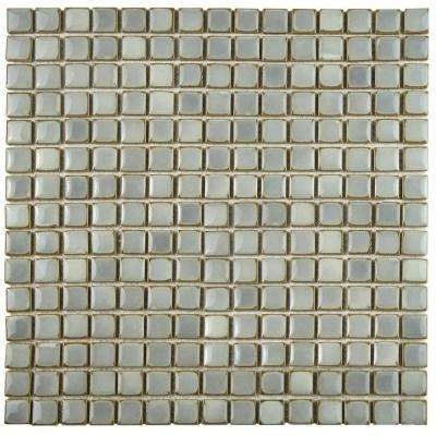 Hudson Edge Grey Eye 12-3/8 in. x 12-3/8 in. x 6 mm Porcelain Mosaic Tile