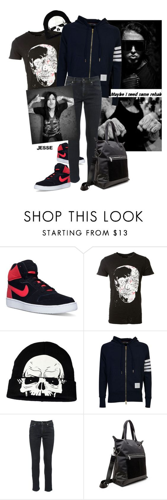 """Reality Rehab"" by archfiend ❤ liked on Polyvore featuring NIKE, AMIRI, Concept One, Thom Browne, Dolce&Gabbana, Steve Madden, men's fashion and menswear"