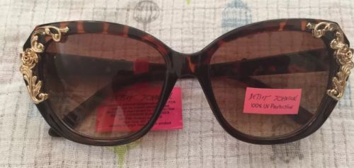 Betsy Johnson Unique Embellished Gold Sun Glasses NWT Tortoise Shell Mothers Day