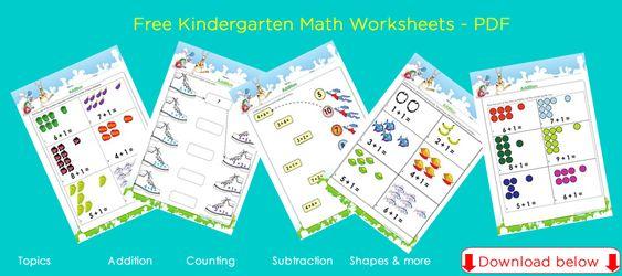 Free kindergarten math worksheets for children PDF ready to – Free Math Worksheets Pdf