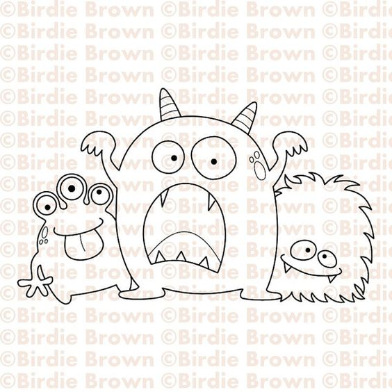 Digital stamp  Three Monsters por BirdieBrown en Etsy, $2.50