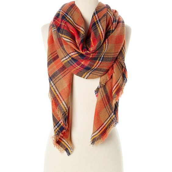 Rapti Tan & Red Plaid Blanket Scarf ($15) ❤ liked on Polyvore featuring accessories, scarves, red blanket scarf, red shawl, tartan scarves, blanket scarf and plaid scarves