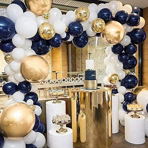 Partywoo Blue And Gold Balloons 50 Pcs 12 Inch Navy Blue Https