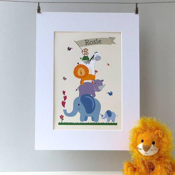 Personalised Children's Animal Nursery Print from notonthehighstreet.com