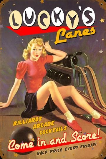 Lucky's Lanes Vintage Pin up Bowling Sign