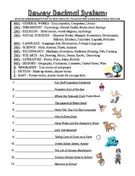 Dewey Decimal Practice Sheets | Decimal