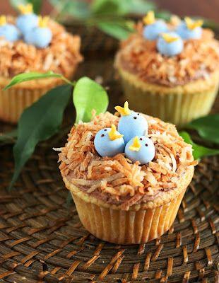 Bird's Nest Cupcakes with toasted coconut and cadbury mini easter eggs
