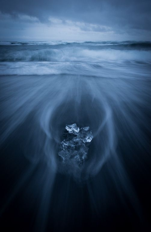 Diamonds on the black beach in Iceland.