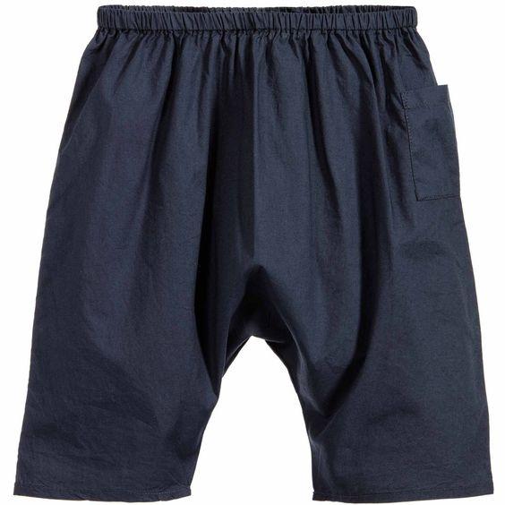 Navy Blue 'Kokam' Cotton Baby Trousers, Caramel Baby & Child
