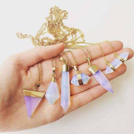 These amazing opalite necklaces plus great info on how opalite is made: