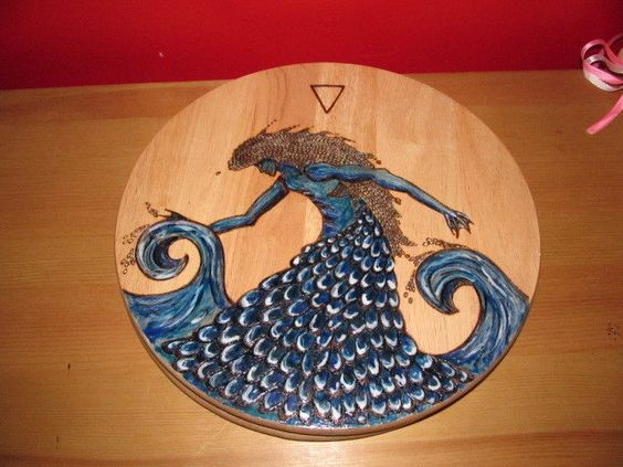 Water Elemental altar board / offering plate  witch wicca pagan fantasy. SALE