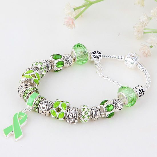 European Green Awareness Ribbon Dangle Murano Glass Bead Charm Bracelet JC163