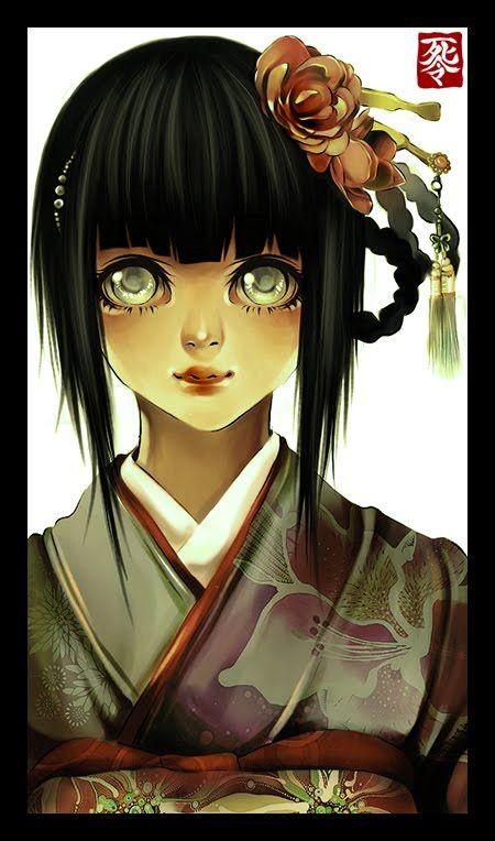 hinata in kimono digital art