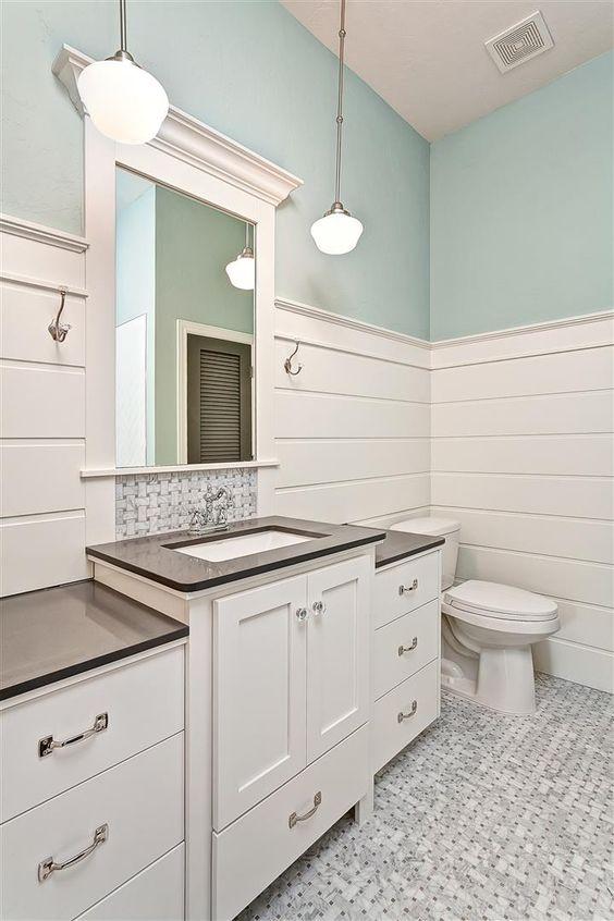 Raised vanity counter with schoolhouse lighting and chrome - Schoolhouse bathroom vanity light ...
