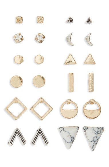BP. Geometric Stud Earrings (Set of 12) available at #Nordstrom
