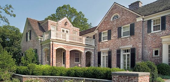 Black love home and black shutters on pinterest for Brick georgian homes