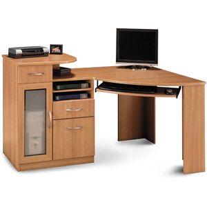 bush industries vantage corner desk shelves printers. Black Bedroom Furniture Sets. Home Design Ideas