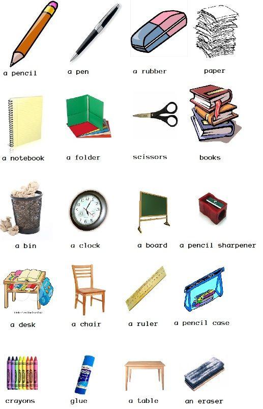 Objetos con su correspondiente nombre en inglés. | Niños | Pinterest