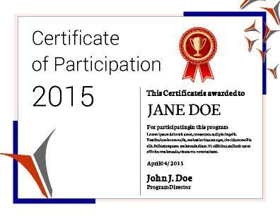 Participation Certificate Template Participation Certificate - certificate of participation free template