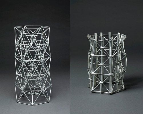 Automorphic Compression Member & Automorphic Tube Model – Robert le Ricolais  Robert le Ricolais's wire-frame tensegrity structures may well stand as sculptural artworks in their own right. HTheir balanced forms create a meditative aerodynamic aesthetic, implying propulsion or rotation. Some, throwing their graphic wire-frame shadows into space, defy gravity through their nearly-not-thereness.