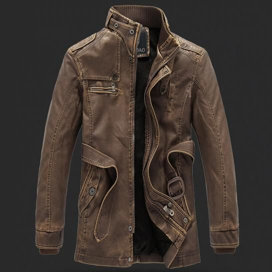 Zombie Apocalypse protective long leather jacket with high collar