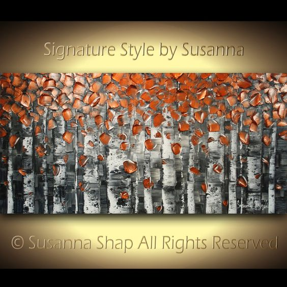 ORIGINAL Large Abstract Copper Birch Trees Impasto Landscape Heavy Textured Modern Palette Knife Painting by Susanna Ready to Hang 48x24. $400.00, via Etsy.