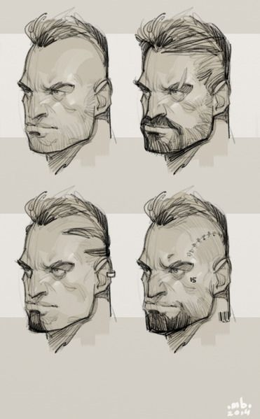 Face variations for a personal project.nnArtrage/Corel Painter 12 #cabezas #hombre