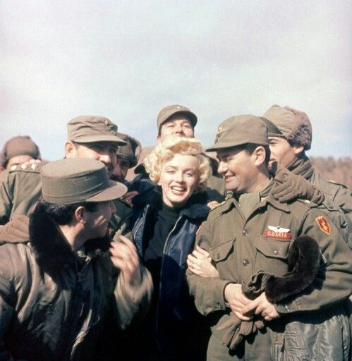 Marilyn with the Marines in Korea, 1954.