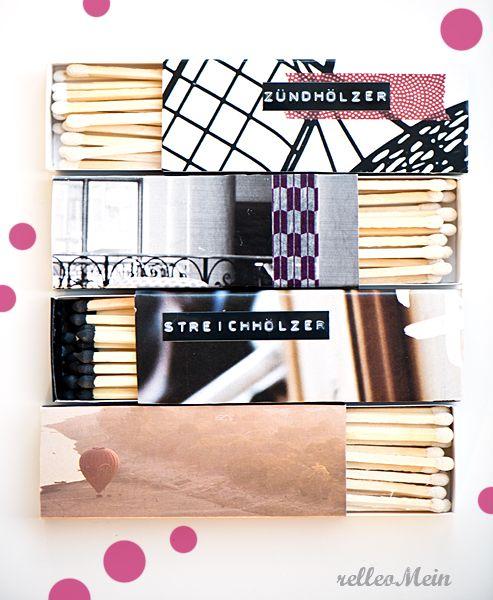 Upcycling Streichholzschachteln beklebt mit Papier und Masking Tape beschriftet mit Prägegerät   relleoMein