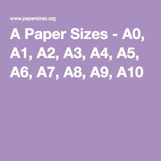 A Paper Sizes - A0, A1, A2, A3, A4, A5, A6, A7, A8, A9 ...