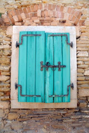 Traditional Shutters Covering Window Peroulades Corfu Greece