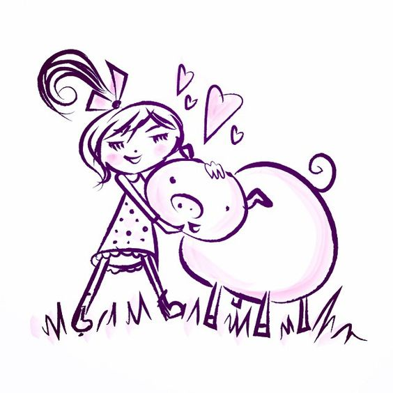 Because is there really anything sweeter than a girl with her pig? #doodle #doodleaday #sketch #drawing #piglove #cartoon