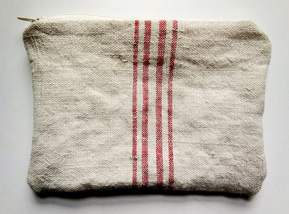 zipper pouch made from vintage linen grain sacks by AtticAntics, $20.00