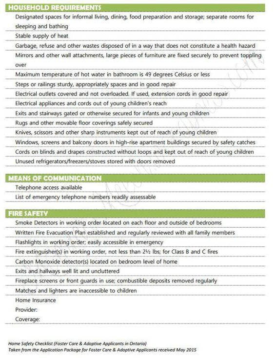 Home safety checklist to prep for first home study - foster adoption process (mommameesh wordpress com)