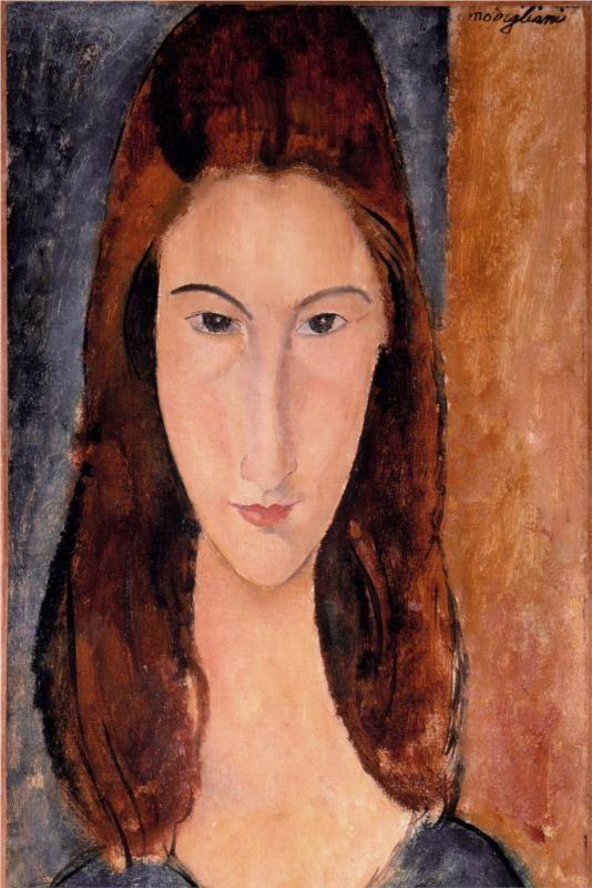 Page_Jeanne Hebuterne, Artist_ Amedeo Modigiliani, 1919, Techniques and Material_oil, canvas, Style_Expressionism, Gallery_Private Collection 모딜리아니의 예술적 영감의 원천이자 그의 영원한 사랑 잔느, 그녀는 모딜리아니의 마지막 연인이자 뮤즈로 백조와 같이 긴 목과 우아한 아름다움을 지녀 모딜리아니는그녀를 대상으로 여러 점의 초상화를 그렸다. 작품 속에서 그녀는 가늘고 긴 얼굴형에 명확하고 야무진 눈매와 입, 길게 뻗은 코로 강렬한 인상을 주며 신비로운 아름다움을 나타내고 있다. 모딜리아니는 다양한 인물들의 초상화를 많이 그렸는데 데생력이 우수하고 대상의 내면을 들여다보는 듯 신비로운 표현법이 특징적이다.