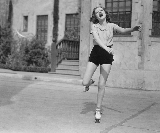 Hollywood, California: Roller-skating craze hits Hollywood, but its quite apparent that the bicycle fad is holding its own. Lona Andre on skates. - April 20, 1933
