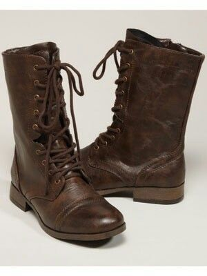 Womens Combat Boots Brown - Cr Boot