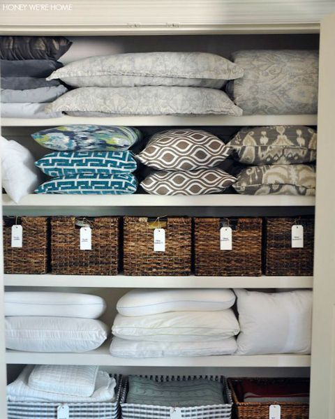14 Genius Products That Ll Ensure Your Linen Closet Stays Organized Linen Closet Linen Closet Organization Pillow Storage