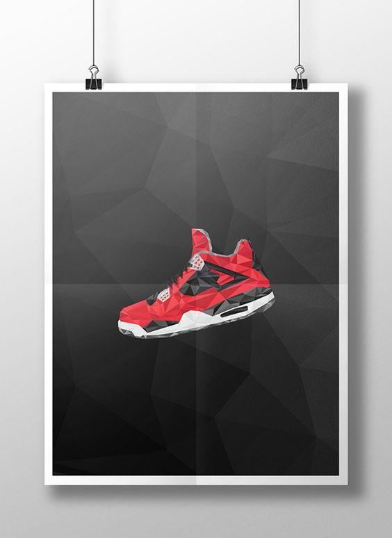 "Air Jordan 4 ""Toro"" in low poly Illustration on Behance"