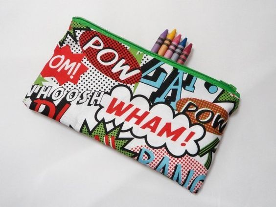 Comicbook Words Fabric Pencil Case - Free UK pp £6.00
