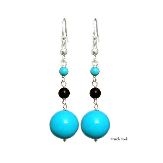 Turquoise Blue 14mm Round, 925 Sterling Silver Earrings - Handmade - Natural Stones - Jewelry -   FREE SHIPPING de ArtGemStones en Etsy