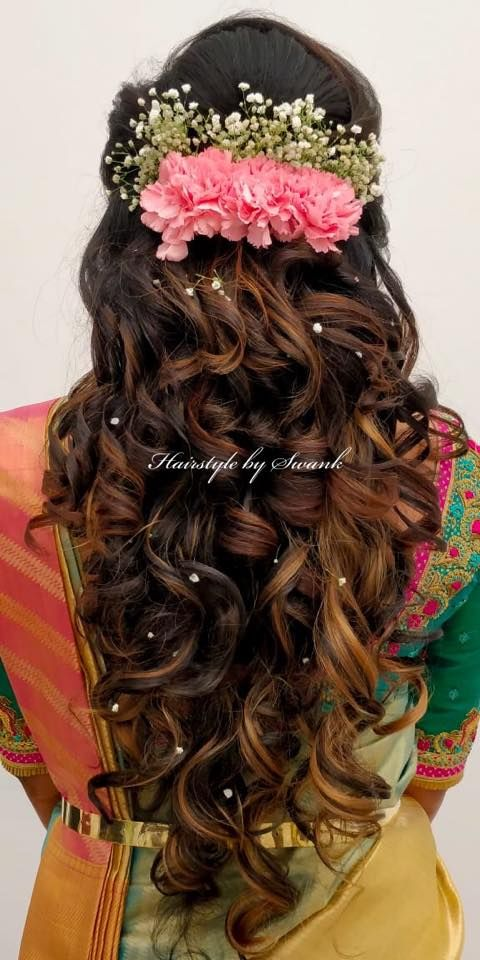 Gorgeous Bridal Hairstyle Alert Bridal Reception Hairstyle By Swank Studio Curls With Fresh Flowers B Hair Styles Bridal Hair Buns Indian Wedding Hairstyles