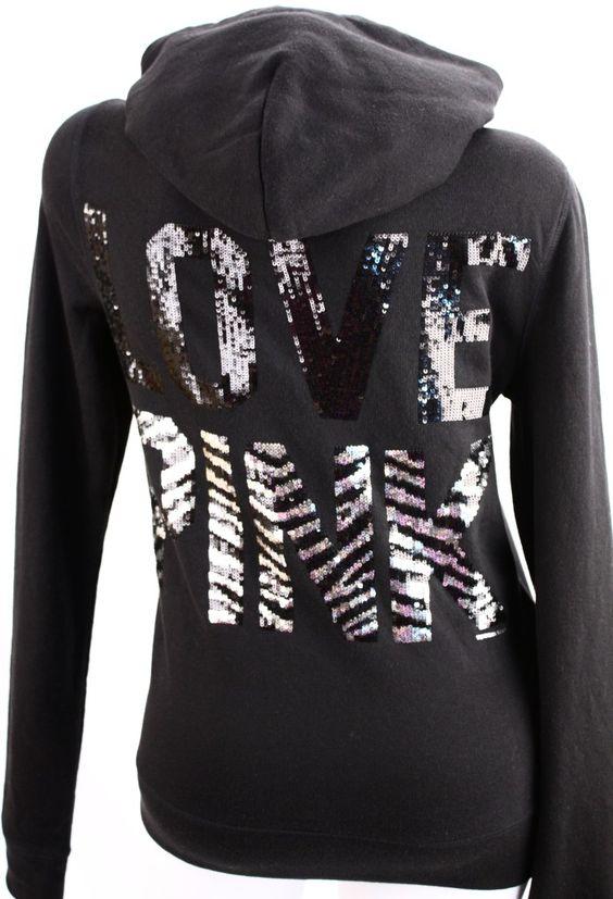 Victoria's Secret Love PINK Zebra Sequin Bling Zip Hoodie Sweatshirt. I wish I didn't love there stuff so much